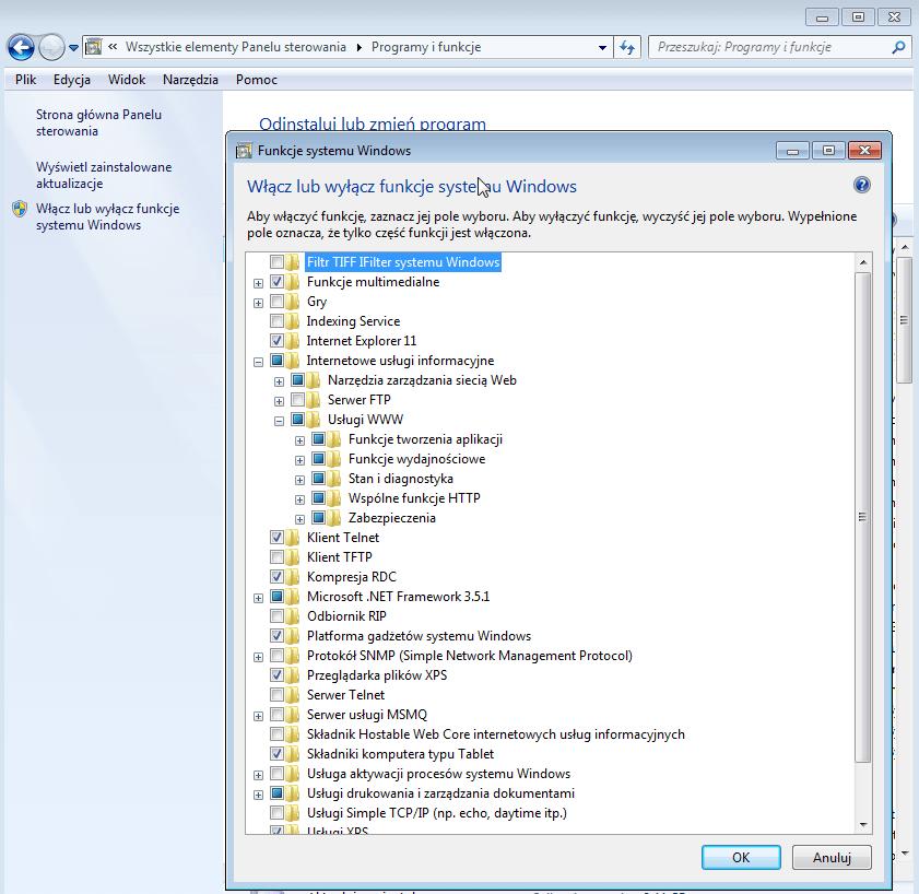 Rys. 2. Instalacja serwera WWW w systemie Microsoft Windows 7.