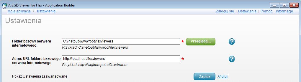 Rys. 3. Ustawienia parametrów serwera WWW w ArcGIS Viewer for Flex.