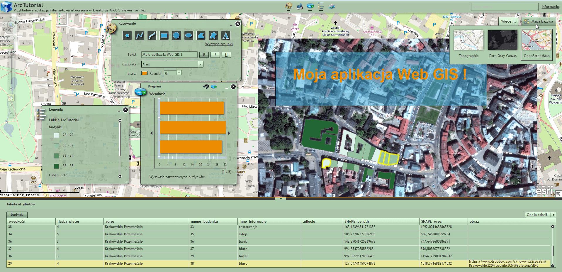 Rys. 9. Widok gotowej aplikacji WebGIS w przeglądarce internetowej.