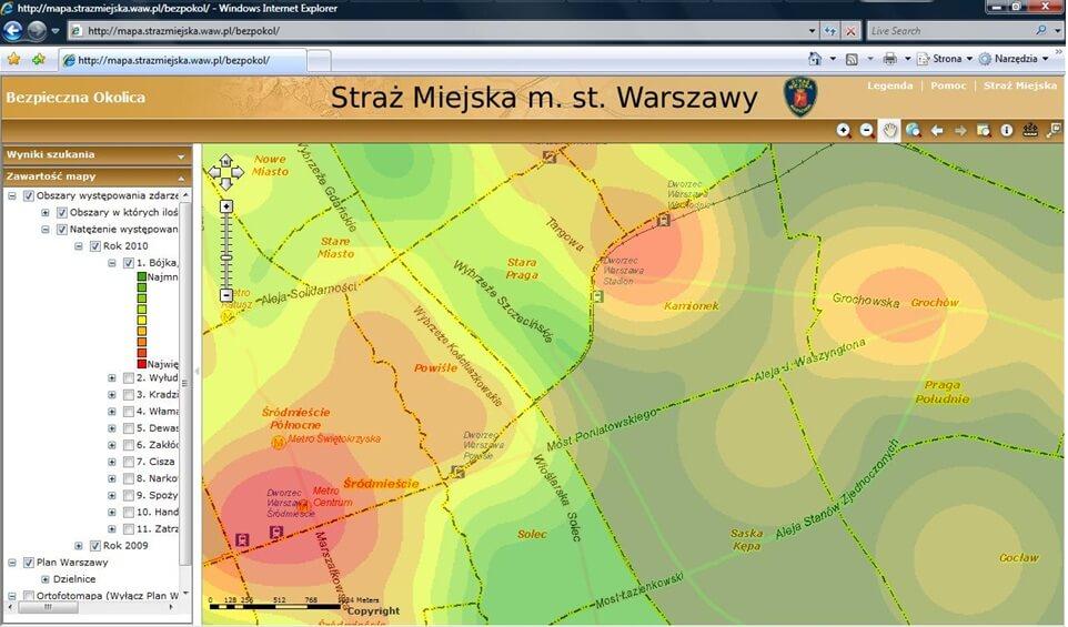 Rys. 2. Mapa natężenia wykroczeń i zachowań chuligańskich opublikowana na stronie internetowej Straży Miejskiej m. st. Warszawy.