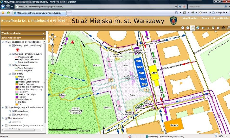 Rys. 3. Wizualizacja dróg ewakuacyjnych i punktów medycznych podczas beatyfikacji ks. Jerzego Popiełuszki w serwisie internetowym stołecznej straży miejskiej.