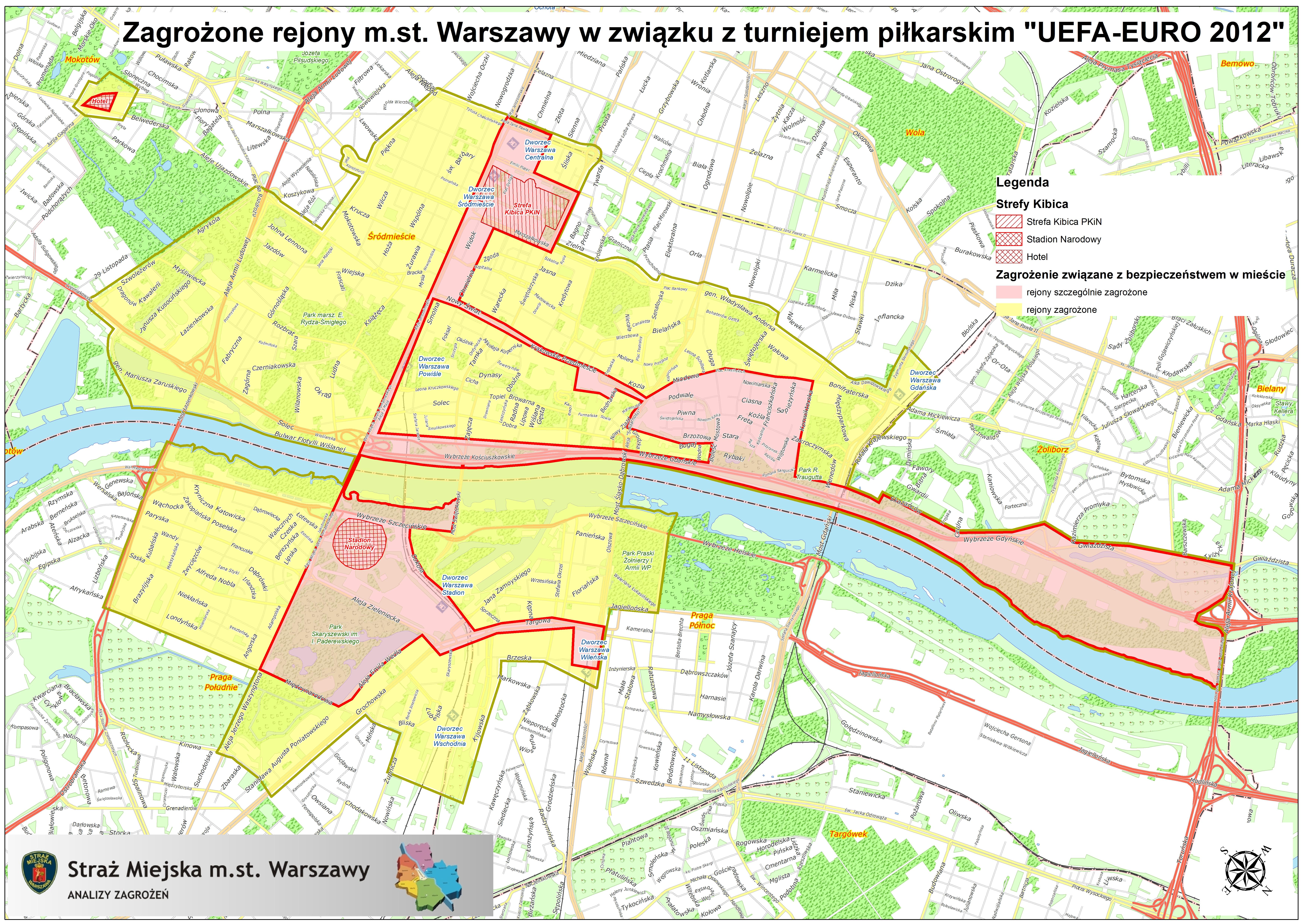 Rys. 5. Wizualizacja stref zagrożenia w Warszawie w związku z EURO 2012.