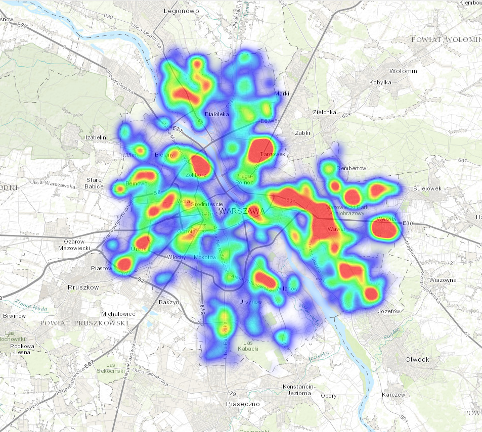 Location analytics: mapa skupień