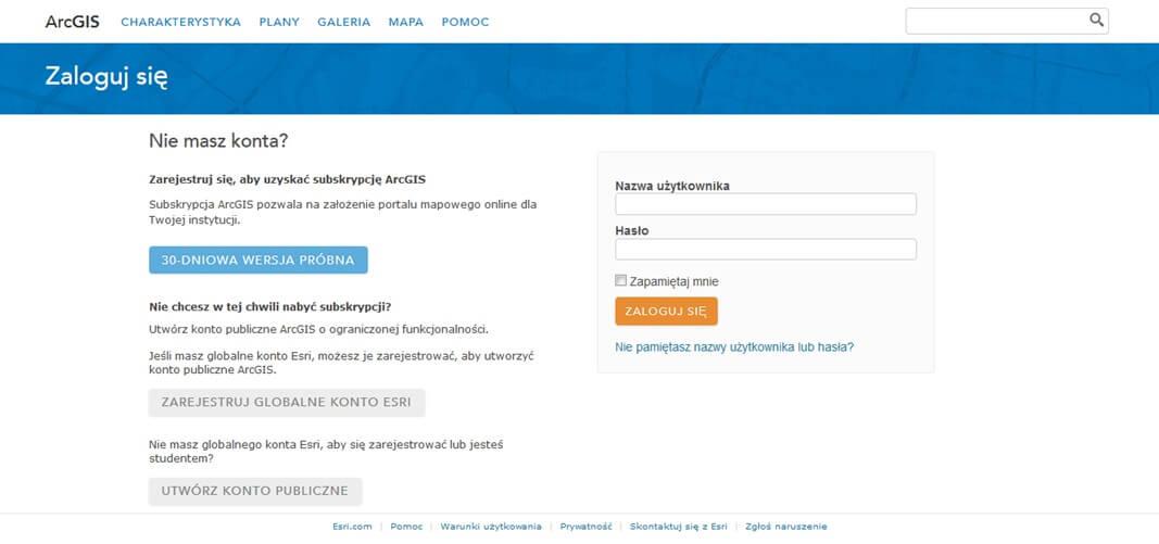 Rys. 1. Strona www.arcgis.com, na której można utworzyć Konto Publiczne ArcGIS Online.