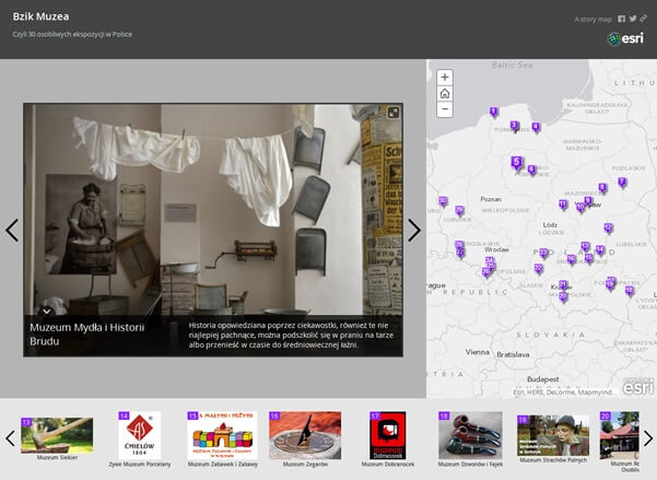 Rys. 1. Aplikacja Story Map przedstawiająca nietypowe muzea w Polsce, która zajęła III miejsce w konkursie Esri Polska na najlepsze Story Maps organizowanym w 2013 roku.