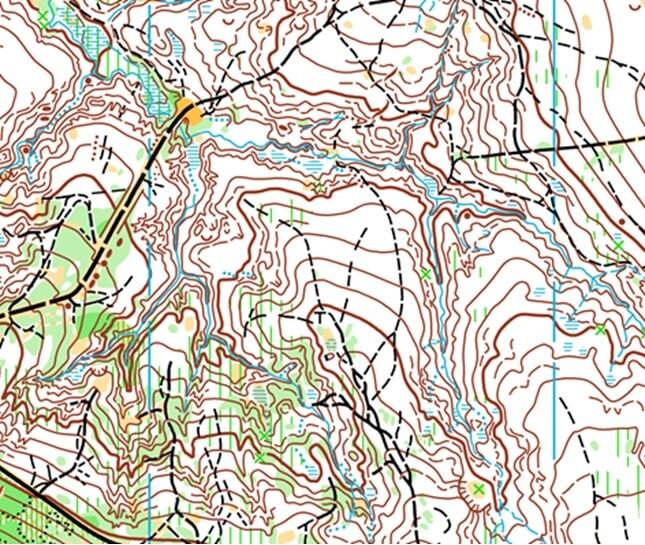 Rys. 1.Fragment mapy do biegu na orientację.