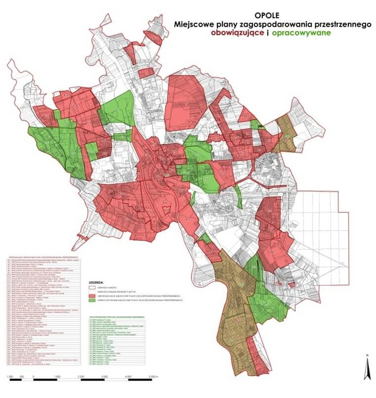 Rys. 1. Mapa obowiązujących i opracowywanych miejscowych planów zagospodarowania przestrzennego Opola.