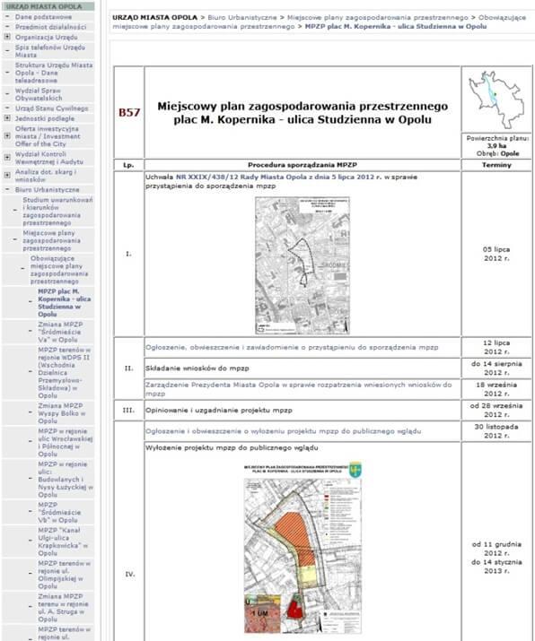 Rys. 2. Fragment procedury sporządzenia przykładowego planu dostępnego w BIP Opola.