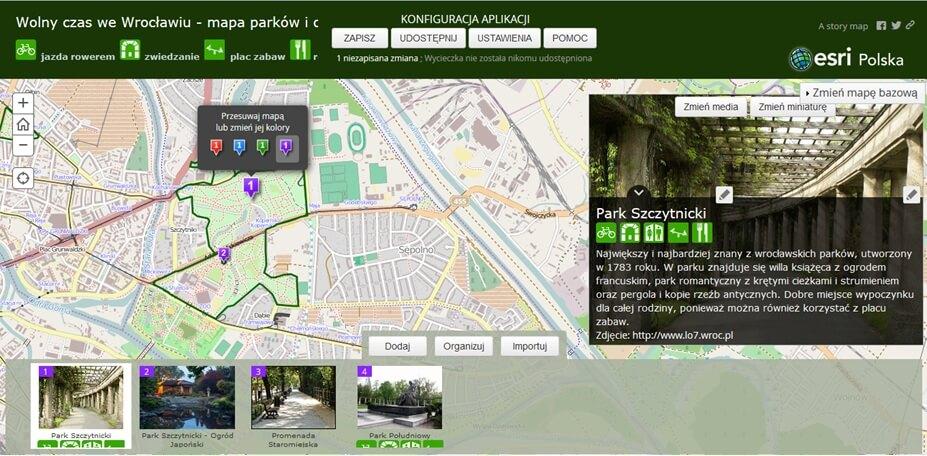 Rys. 3. Okno kreatora Story Maps w trakcie pracy nad aplikacją mapową.