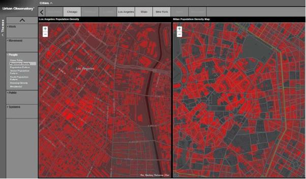 b) porównanie gęstości zaludnienia w Los Angeles i Mediolanie.