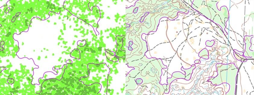 Rys. 3. Fragmenty automatycznie wygenerowanej mapy przebieżności lasu (po lewej) oraz mapy do biegu na orientację (po prawej).