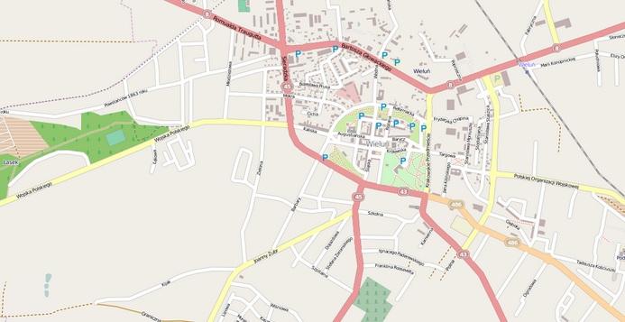 Rys. 3. Mapa OSM miasta Wieluń (grudzień 2013 roku).