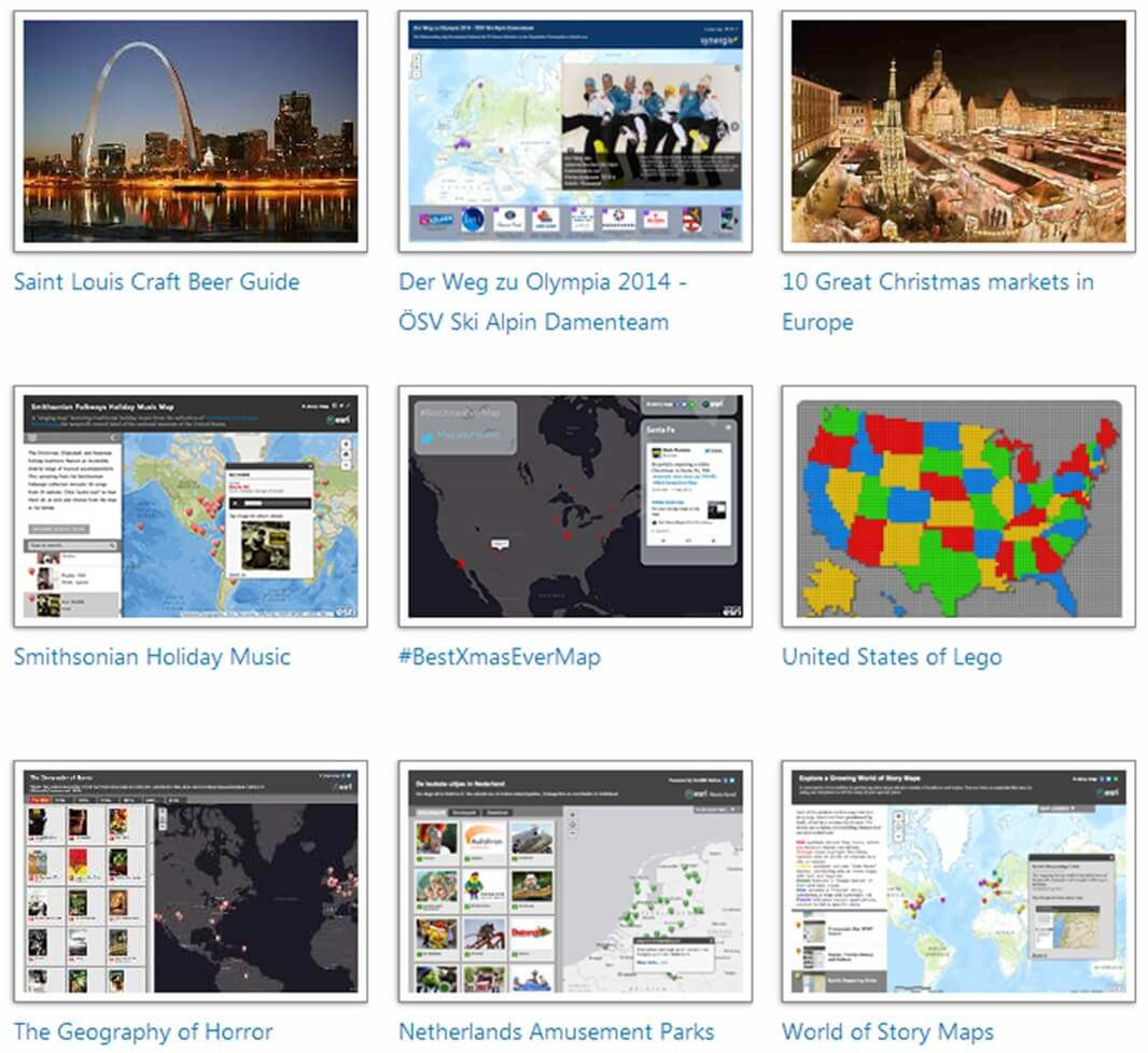 Rys. 4. Aplikacje mapowe utworzone za pomocą różnych szablonów na stronie storymaps.arcgis.com – sekcja Sports and Entertainment.