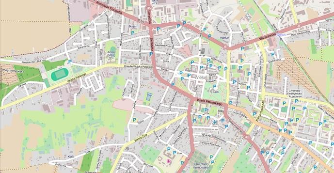 Rys. 4. Mapa OSM miasta Wieluń (styczeń 2014 roku).