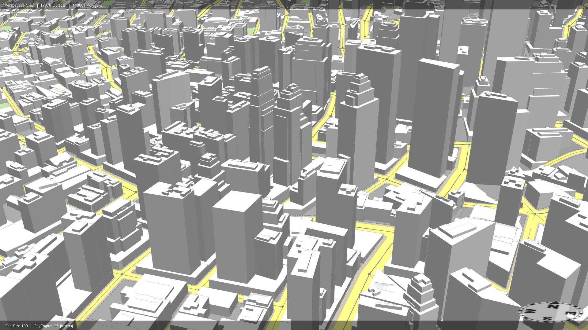 Rys. 3. Obraz miasta utworzony przez sieć drogową i bryły budynków.
