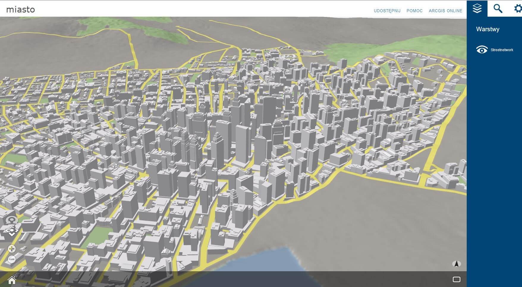 Rys. 4. Ukończony projekt w ArcGIS Online - widok w przeglądarce.