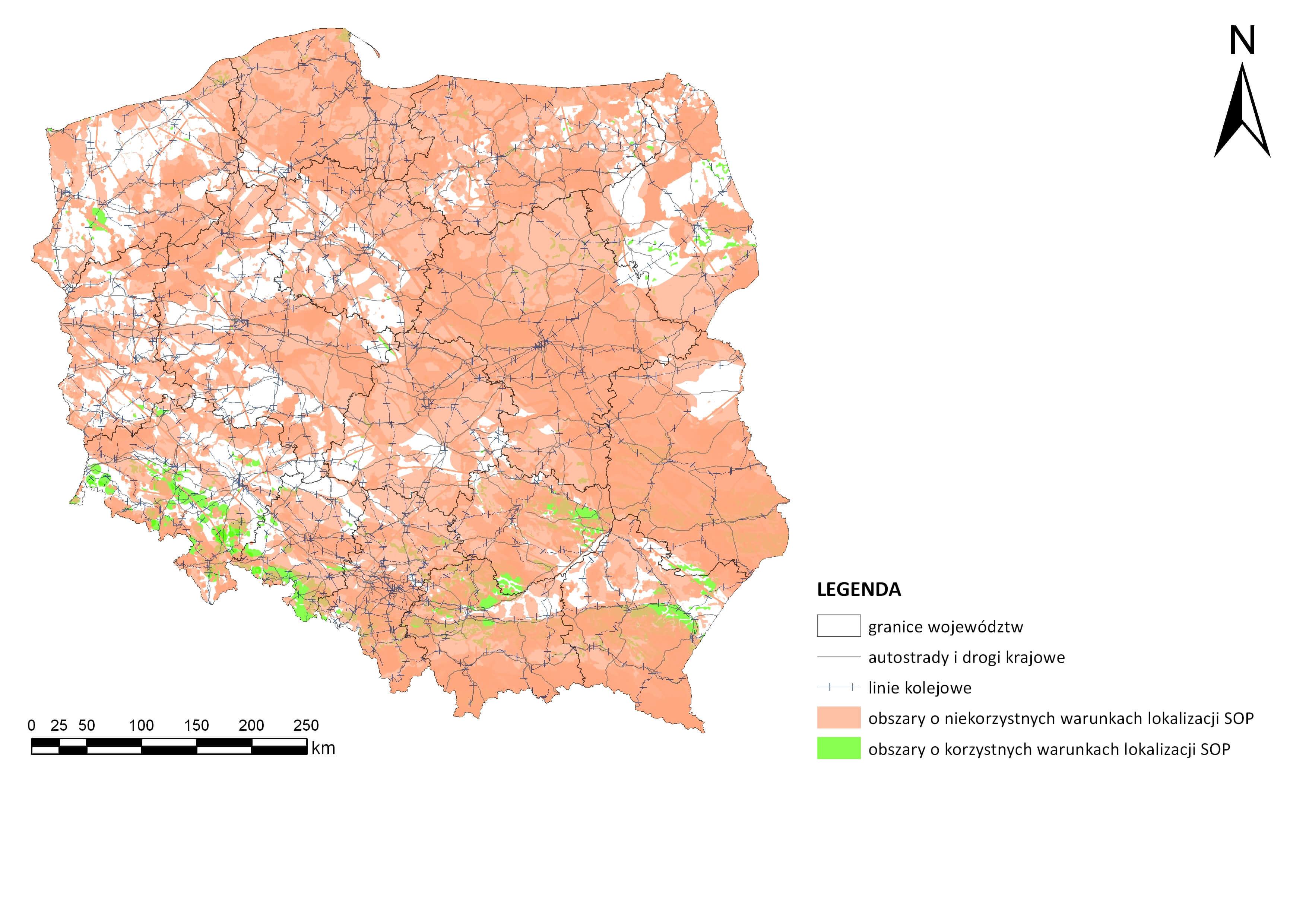 Rys. 2. Obszary o warunkach korzystnych i niekorzystnych dla lokalizacji składowiska odpadów promieniotwórczych w Polsce
