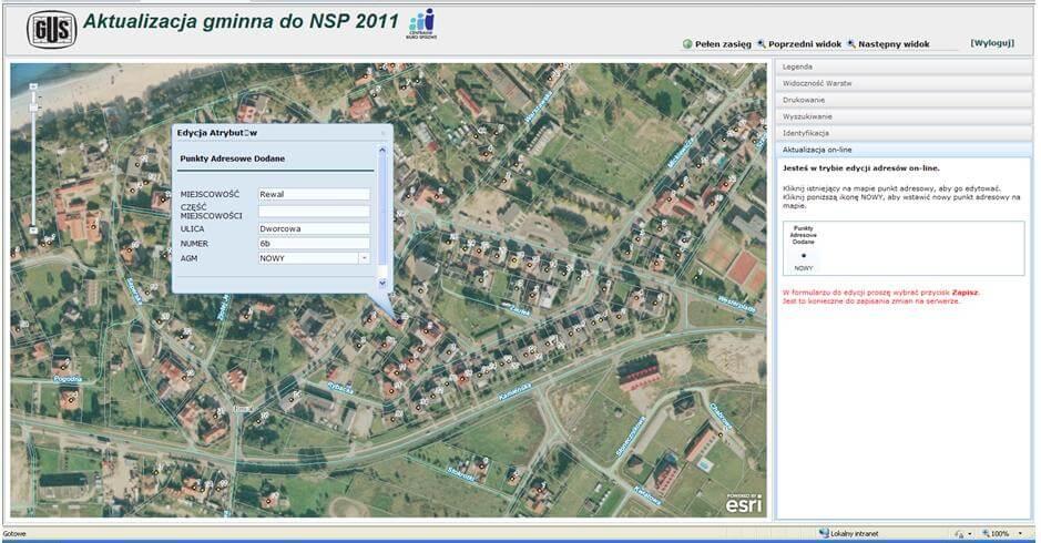 Rysunek 1. Aplikacja do aktualizacji gminnej przed NSP 2011