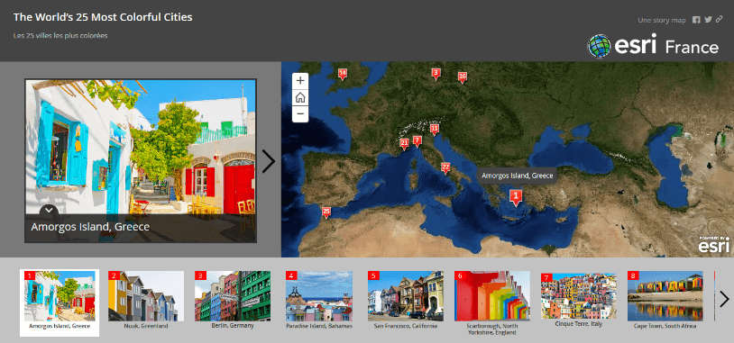 Rys. 1. Francuskie Story map: The World's 25 Most Colorful Cities.