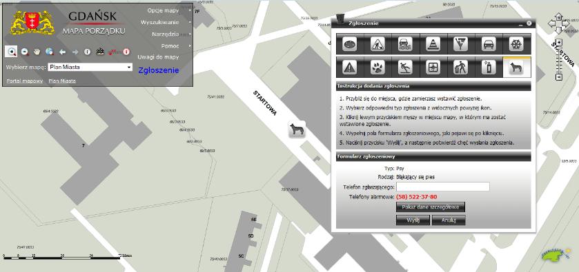 Rys. 5. Mapa Porządku w miejskim systemie informacji geograficznej Gdańska.