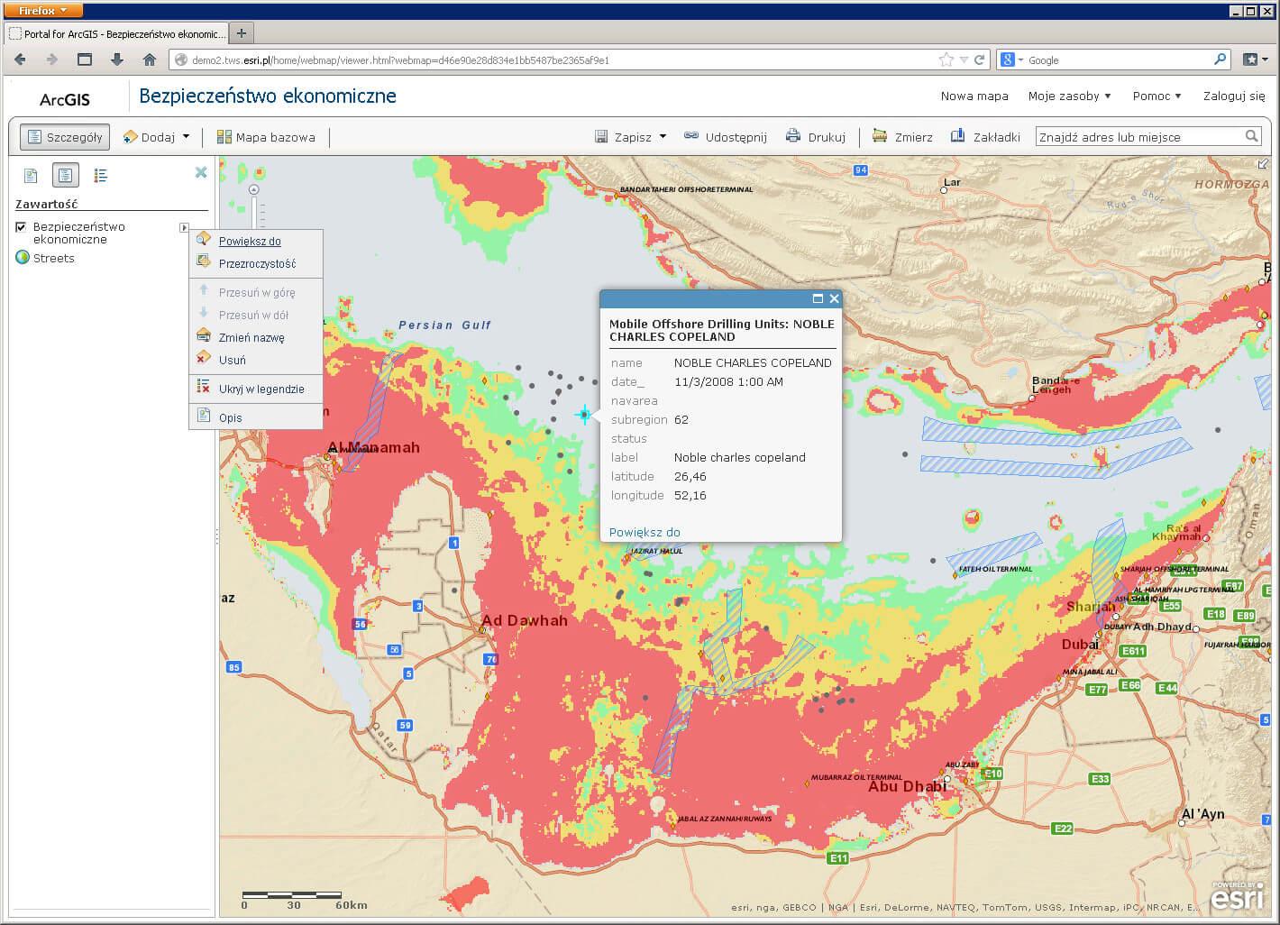 Rys. 2. Przykładowa mapa należąca do zasobów Portal for ArcGIS.