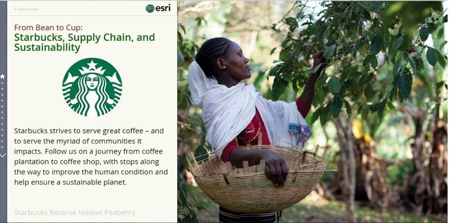 Rys. 1. Proces produkcji kawy w firmie Starbucks można prześledzić, korzystając z aplikacji Map Journal (źródło: Esri Inc.).