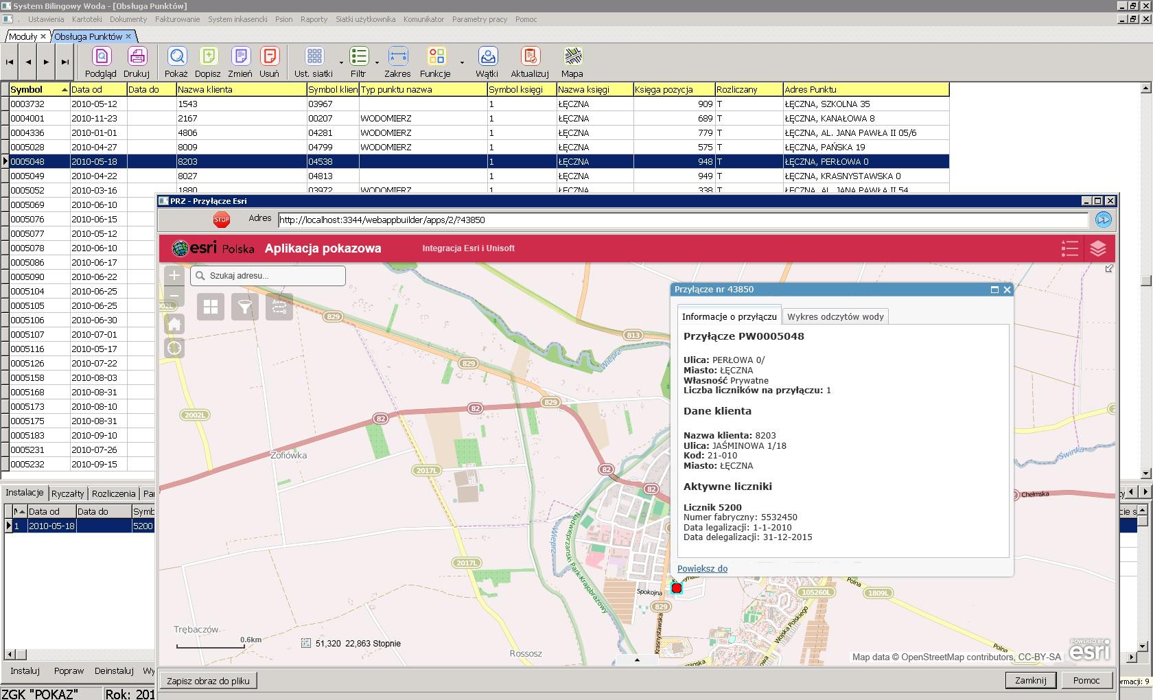 Rys. 2 System bilingowy WODA – mapa systemu GEOSECMA dostępna z poziomu ZSI Unisoft