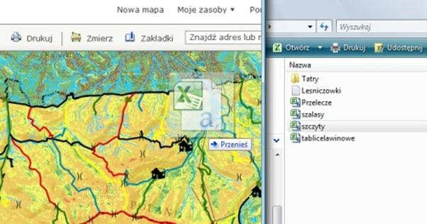 Rys. 3. Dodawanie danych przez przeniesienie z pliku w formacie CSV do arkusza mapy w aplikacji ArcGIS Online.