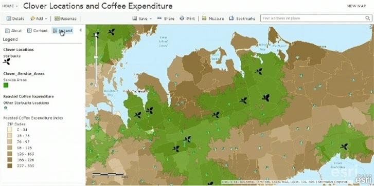 Rys. 3. Mapa przedstawiająca lokalizacje kawiarń Starbucks posiadających system parzenia kawy Clover® (źródło: Esri Inc.).