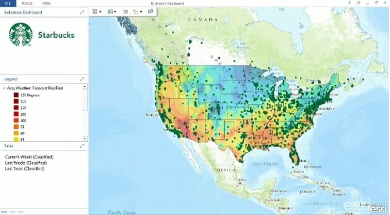 Rys. 5. Mapa przedstawiająca rozkład temperatury powietrza atmosferycznego w Stanach Zjednoczonych na podstawie danych prognoz pogody firmy AccuWeather (źródło: Esri Inc.).