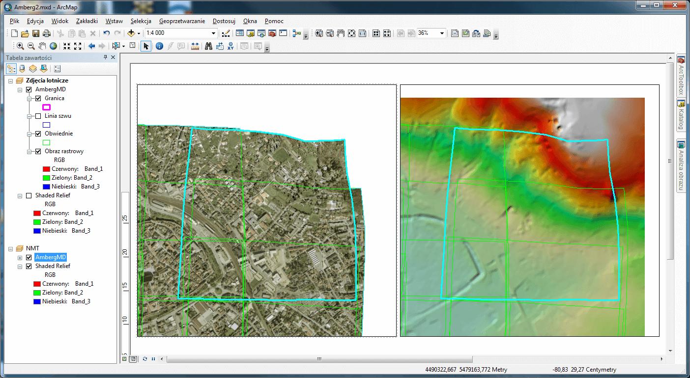 Rys. 5. Zaznaczone zdjęcie lotnicze (kolor turkusowy), którego kształt jest w locie skorygowany dzięki zastosowaniu numerycznego modelu terenu.