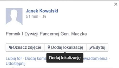 """Rys. 5. Geotagowanie """"ręczne"""" w portalu Facebook."""