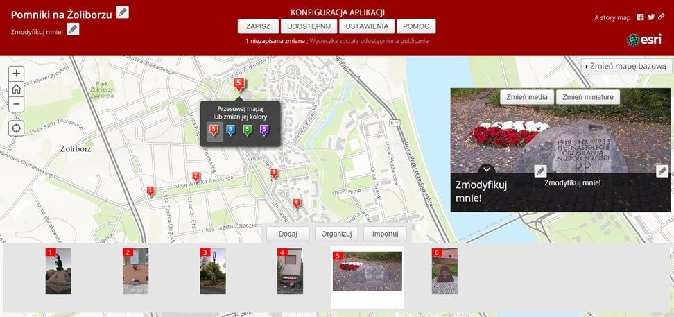 """Rys. 7. Dostosowanie wyglądu aplikacji """"Story Map – Wycieczka""""."""