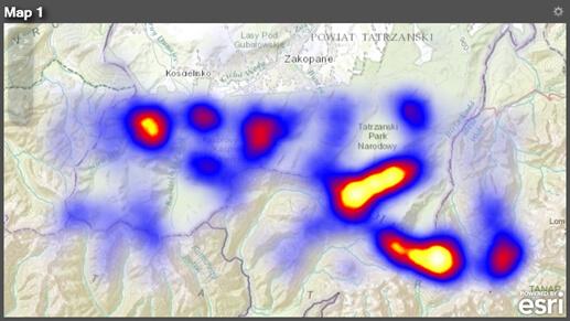 Rys. 7. Mapa szczytów w Tatrach przedstawiona przy użyciu opcji Add Heatmap, która obrazuje ich największe zagęszczenie.