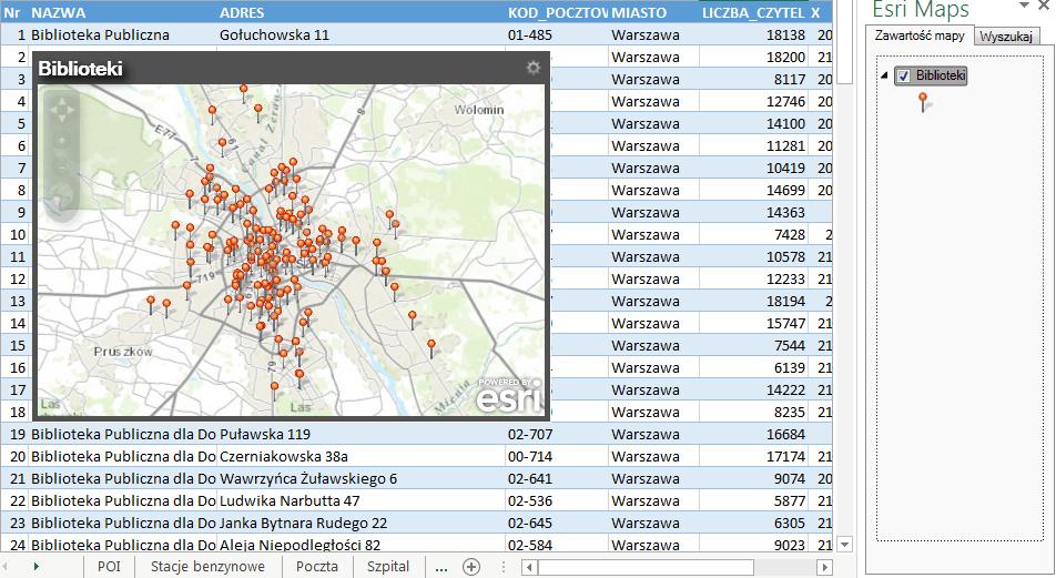 Rys. 2. Przykład mapy punktowej lokalizacji bibliotek w Warszawie.