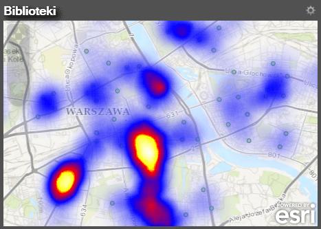 Rys. 5. Przykład mapy skupień dla lokalizacji bibliotek, przedstawiający ich zagęszczenie od najmniejszego (niebieski kolor) do największego (kolor biały).