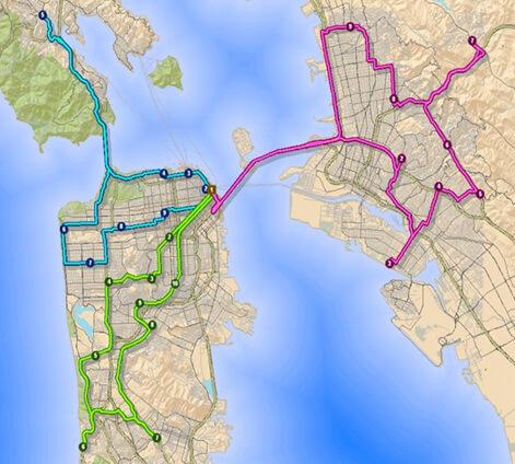 Ryc. 1 Wyznaczanie optymalnych tras przejazdu dla kilku pojazdów