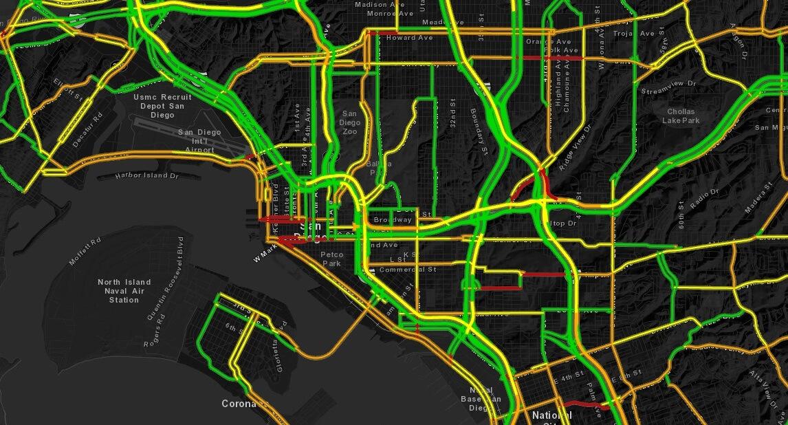 Ryc. 2 Wizualizacja informacji o natężeniu ruchu w mieście w  czasie rzeczywistym.