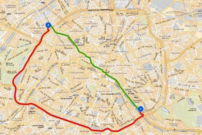 Ryc. 4. Wyznaczanie najkrótszej i najszybszej trasy dojazdu między wskazanymi punktami.