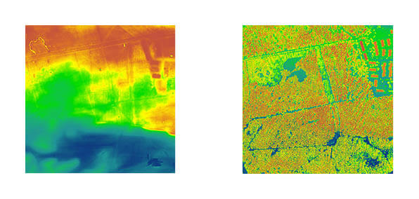 Rys. 1. NMT i NMPT dla tego samego obszaru wygenerowany automatycznie w oprogramowaniu LP360 na podstawie danych ALS z okolic Torunia.