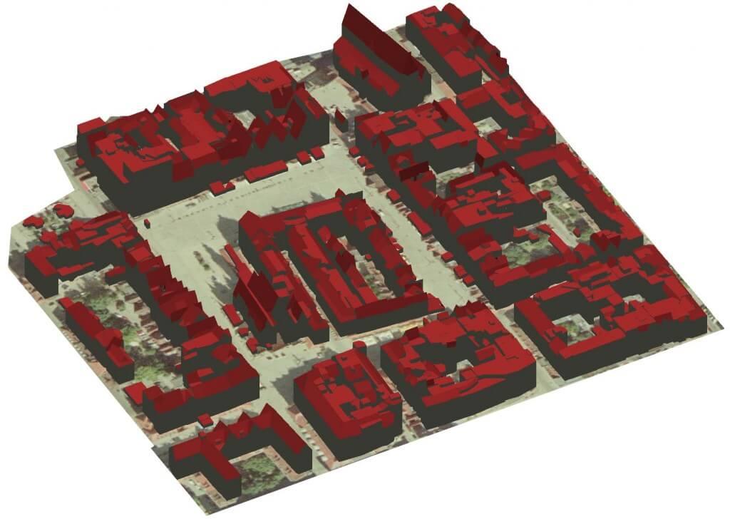 Rys. 2. Budynki 3D na obszarze Starego Miasta we Wrocławiu wygenerowane automatycznie na podstawie danych pochodzących z projektu ISOK w oprogramowaniu TerraScan.