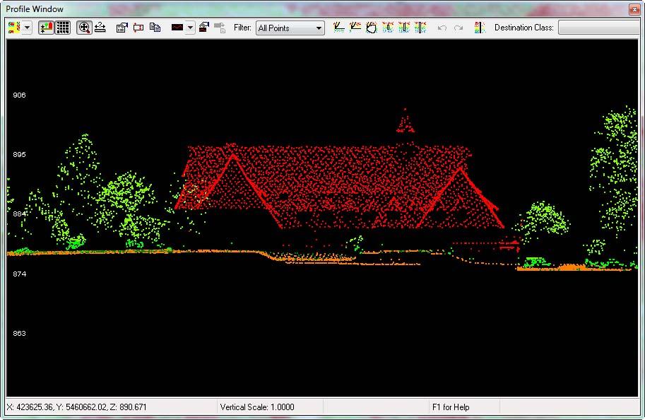 Rys. 4. Chmura punktów automatycznie sklasyfikowana w oprogramowaniu LP360 z obszaru Zakopanego.