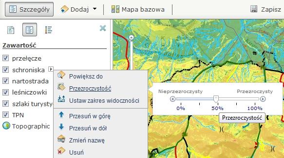 Rys. 2. Zawartość mapy. Edycja widoku warstw – przezroczystość.