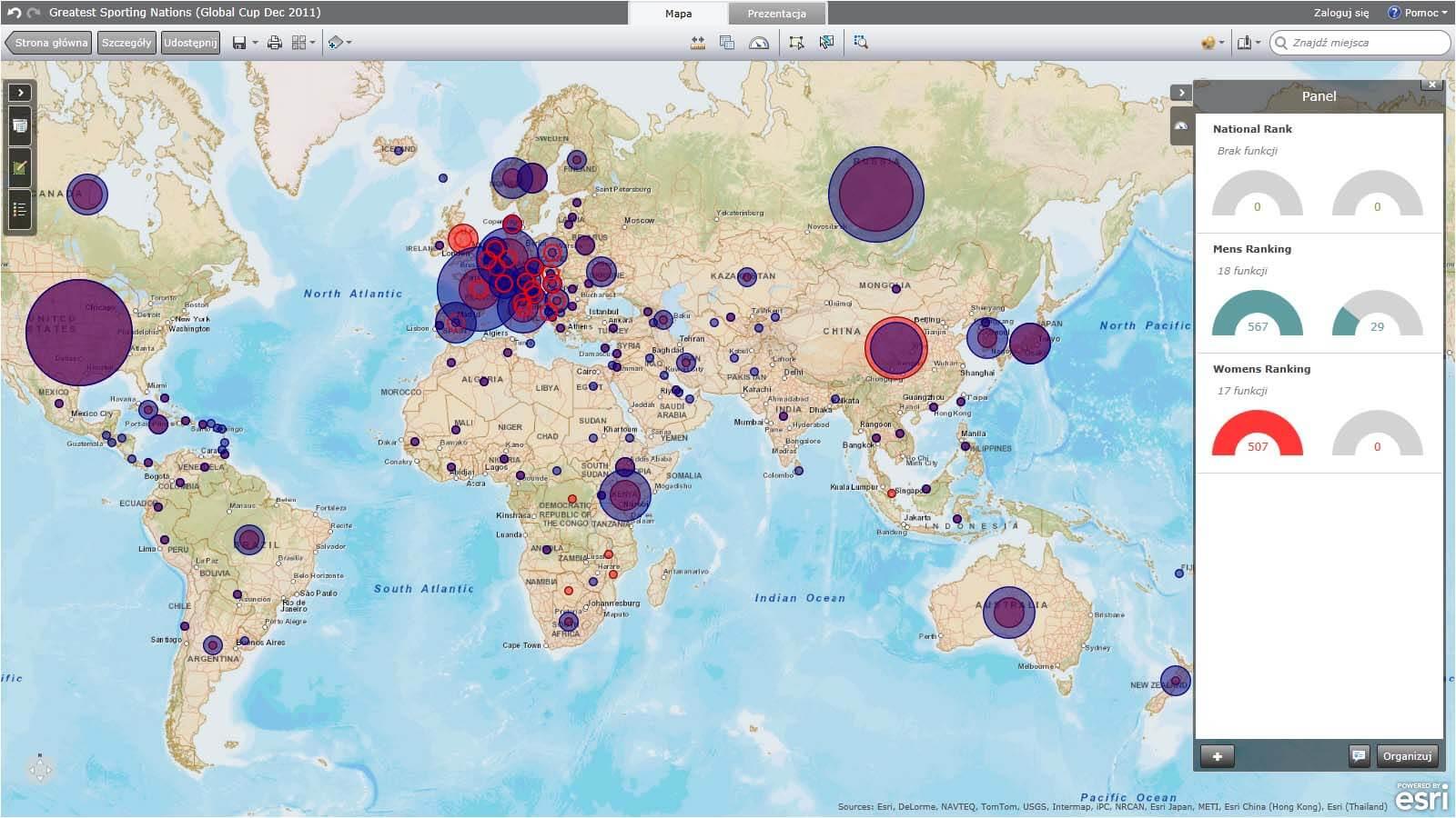 Ryc. 2. Okno aplikacji ArcGIS Explorer Online.