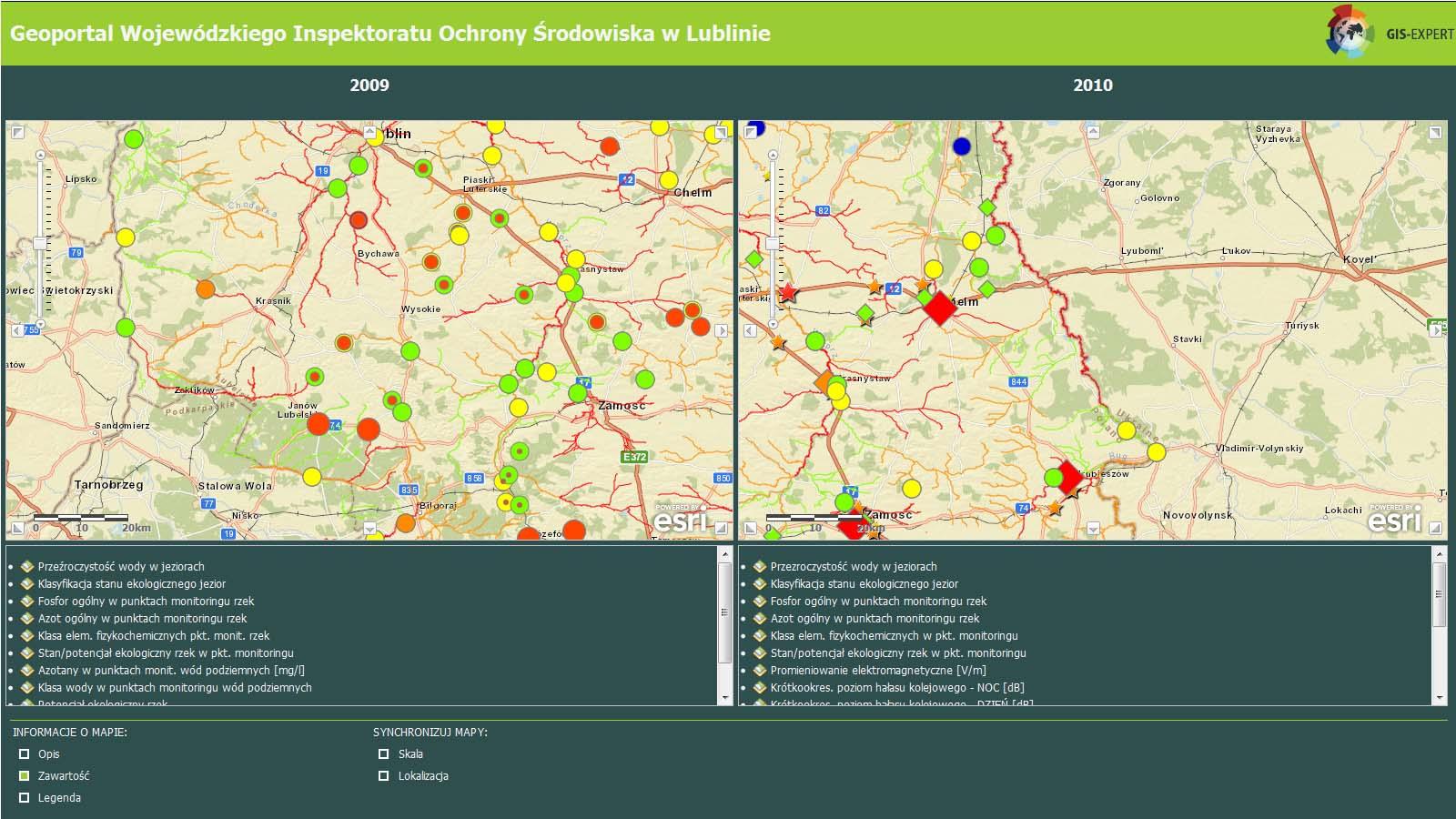 Ryc. 3. Geoportal Wojewódzkiego Inspektoratu Ochrony Środowiska w Lublinie wykorzystujący usługi www.arcgis.com.