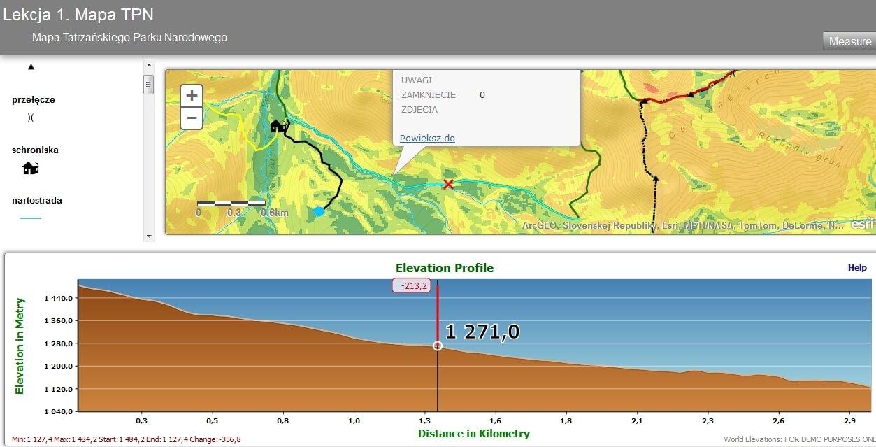 Rys. 6. Aplikacja z profilem wzniesienia dla wybranego szlaku na terenie TPN.