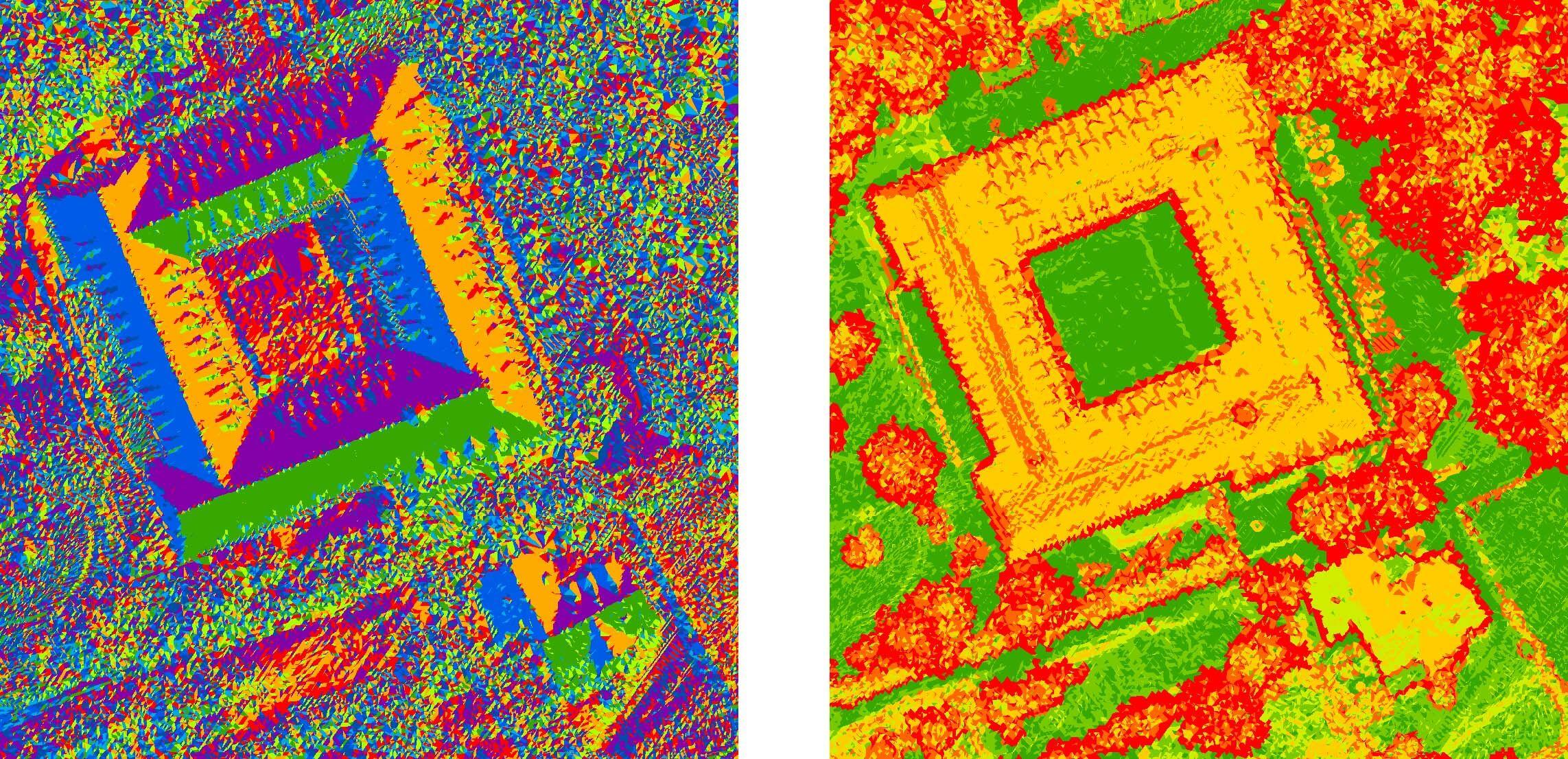 Rys. 5. Mapa ekspozycji i spadków dachów wygenerowana w oprogramowaniu LP360 w celu określenia optymalnej lokalizacji kolektorów słonecznych.