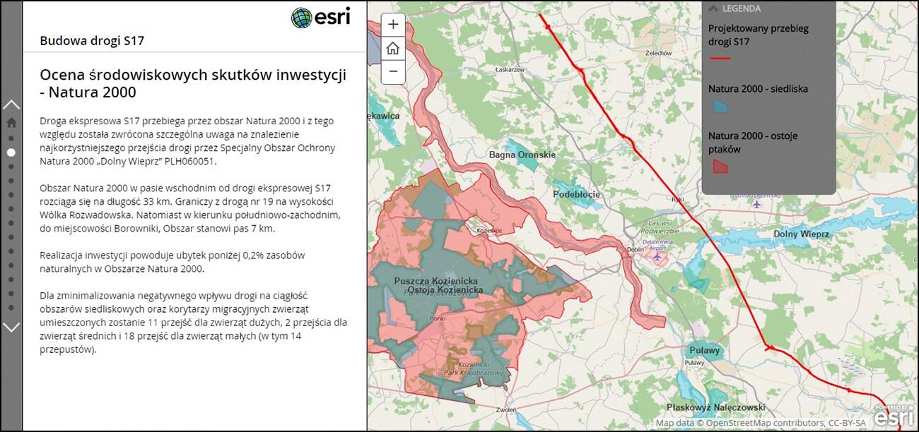 Rys. 1. Trasa S17 na tle obszarów Natura 2000