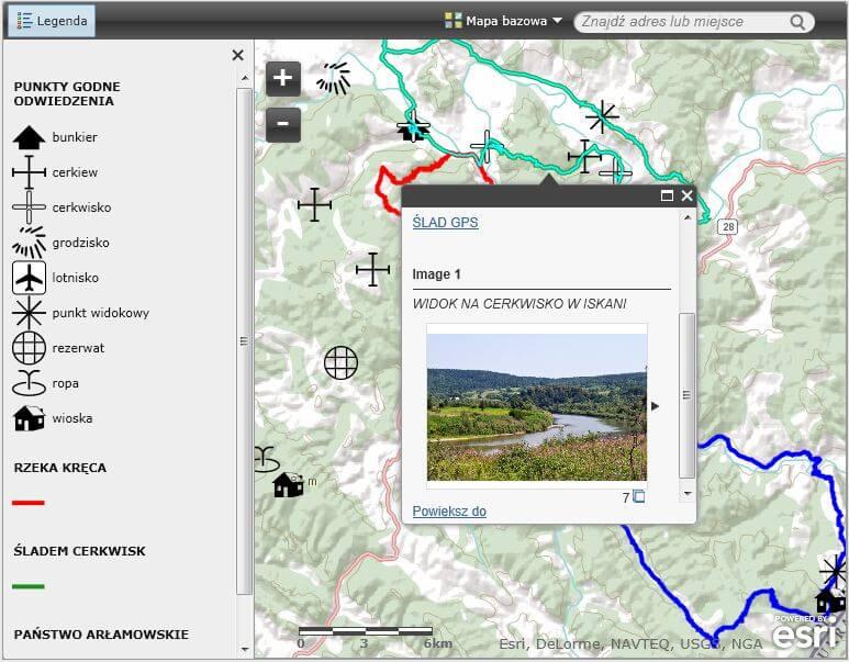 Rys. 2. Serwis mapowy utworzony w ArcGIS Online. Klikając na dowolny obiekt na mapie, uzyskujemy informację opisową, linki do śladów GPS oraz zdjęcia.