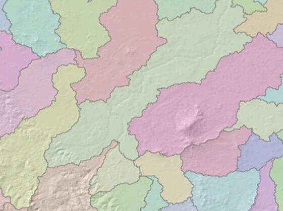 Rys. 3. Wyznaczone granice topograficzne wybranych zlewni.